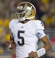 Quarterback Everett Golson (5) smiles after his second TD toss of the game.