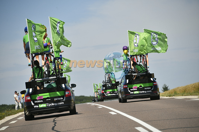 The publicity caravan during Stage 6 of the 104th edition of the Tour de France 2017, running 216km from Vesoul to Troyes, France. 6th July 2017.<br /> Picture: ASO/Bruno Bade | Cyclefile<br /> <br /> <br /> All photos usage must carry mandatory copyright credit (&copy; Cyclefile | ASO/Bruno Bade)