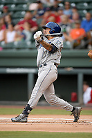 Center fielder Nico Decolati (19) of the Asheville Tourists bats in a game against the Greenville Drive on Friday, August 23, 2019, at Fluor Field at the West End in Greenville, South Carolina. Greenville won, 11-1. (Tom Priddy/Four Seam Images)