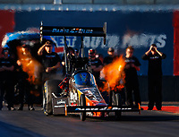 Jan 31, 2018; Chandler, AZ, USA; NHRA top fuel driver Clay Millican during Nitro Spring Training Testing at Wild Horse Pass Motorsports Park. Mandatory Credit: Mark J. Rebilas-USA TODAY Sports