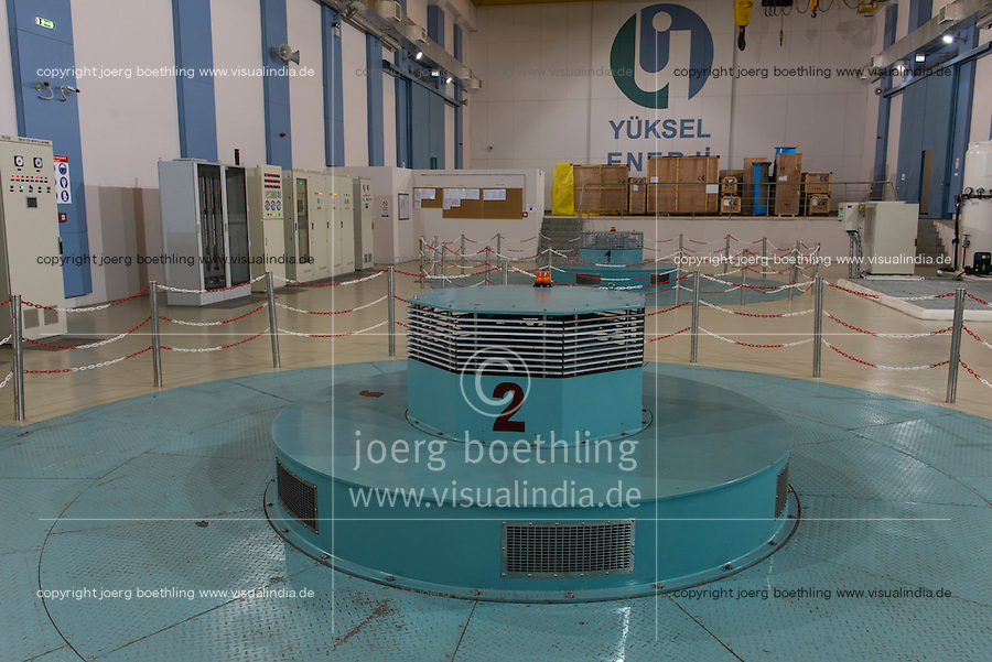 TURKEY, Mengen, Köprübaşı HEPP, hydro power station of Yueksel Holding / TUERKEI, Mengen, Köprübaşı HEPP, Wasserkraftwerk der Yueksel Holdung, Turbinenhaus