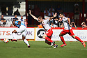 Kyel Reid of Bradford escapes from David Gray and Michael Doughty of Stevenage (on loan from QPR)<br />  - Stevenage v Bradford City - Sky Bet League 1 - Lamex Stadium, Stevenage - 31st August, 2013<br />  © Kevin Coleman 2013