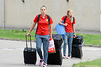 20170725 - TILBURG , NETHERLANDS :  Belgian Nicky Evrard and Julie Biesmans (r) pictured going back to Belgium as the Belgian national women's soccer team Red Flames was not able to qualify for the quarter finals after a loss against The Netherlands , on Tuesday 25 July 2017 in Tilburg . The Red Flames finished on 3 th place in Group A at the Women's European Championship 2017 in the Netherlands. PHOTO SPORTPIX.BE | DAVID CATRY
