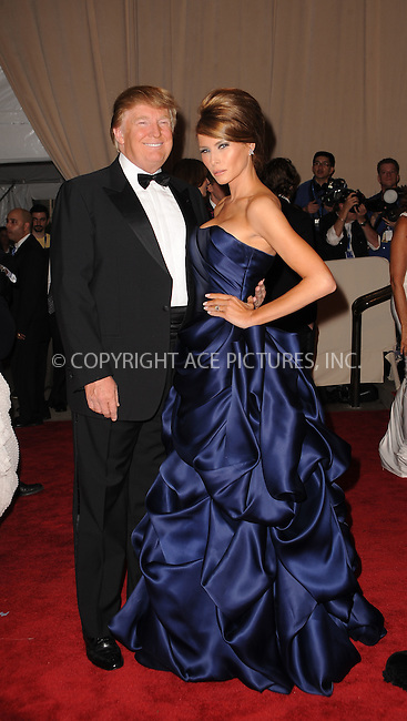 WWW.ACEPIXS.COM . . . . . ....May 3 2010, New York City....Donald and Melania Trump arriving at the Costume Institute Gala Benefit to celebrate the opening of the 'American Woman: Fashioning a National Identity' exhibition at The Metropolitan Museum of Art on May 3, 2010 in New York City.....Please byline: KRISTIN CALLAHAN - ACEPIXS.COM.. . . . . . ..Ace Pictures, Inc:  ..(212) 243-8787 or (646) 679 0430..e-mail: picturedesk@acepixs.com..web: http://www.acepixs.com