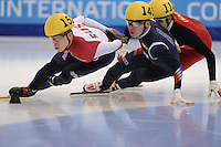 "SHORT TRACK: MOSCOW: Speed Skating Centre ""Krylatskoe"", 14-03-2015, ISU World Short Track Speed Skating Championships 2015, Semen ELISTRATOV (#152   RUS), Yi Ra SEO (#143   KOR), ©photo Martin de Jong"