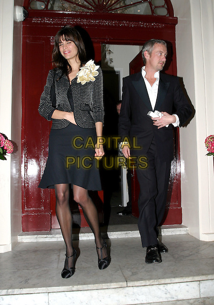LISA B & ANTON BILTON.Cancer Research UK Fundraising Dinner, Morton's, Berkeley Square.April 21st, 2004.full length, full-length, black skirt, flower, corsage.www.capitalpictures.com.sales@capitalpictures.com.© Capital Pictures..