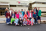 Competition winner Aisling McCarthy and her class mates from Kilgarvan NS on tour in Astellas Killorglin on Friday