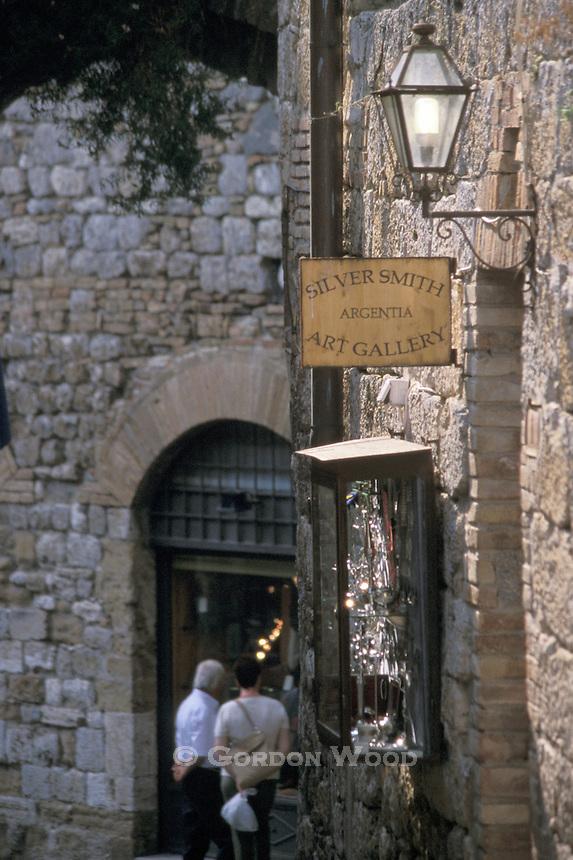 Silversmith shop in San Gimignano Italy
