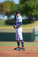 Scottsdale Scorpions relief pitcher Stephen Nogosek (29), of the New York Mets organization, gets ready to deliver a pitch during an Arizona Fall League game against the Surprise Saguaros at Scottsdale Stadium on October 26, 2018 in Scottsdale, Arizona. Surprise defeated Scottsdale 3-1. (Zachary Lucy/Four Seam Images)