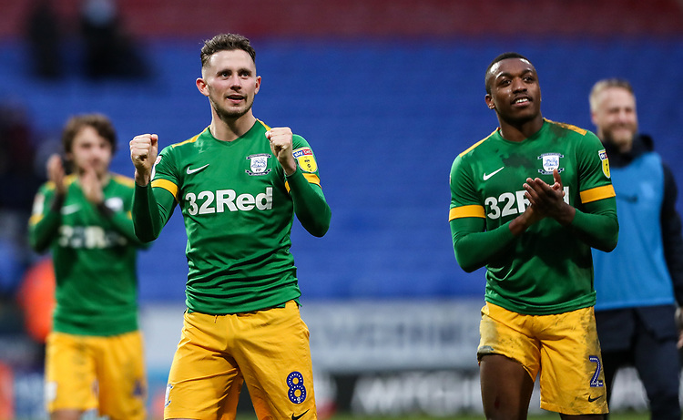 Preston North End's Alan Browne and Darnell Fisher applaud the fans at the end of the match <br /> <br /> Photographer Andrew Kearns/CameraSport<br /> <br /> The EFL Sky Bet Championship - Bolton Wanderers v Preston North End - Saturday 9th February 2019 - University of Bolton Stadium - Bolton<br /> <br /> World Copyright © 2019 CameraSport. All rights reserved. 43 Linden Ave. Countesthorpe. Leicester. England. LE8 5PG - Tel: +44 (0) 116 277 4147 - admin@camerasport.com - www.camerasport.com