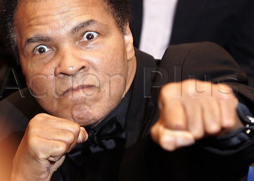 17.12.2005  Muhammad Ali (USA) Ex-heavyweight world champions play spars with reporters at an interview . Muhammad Ali died on June 3rd 2016 of a respiratory complication in a Phoenix hospital.
