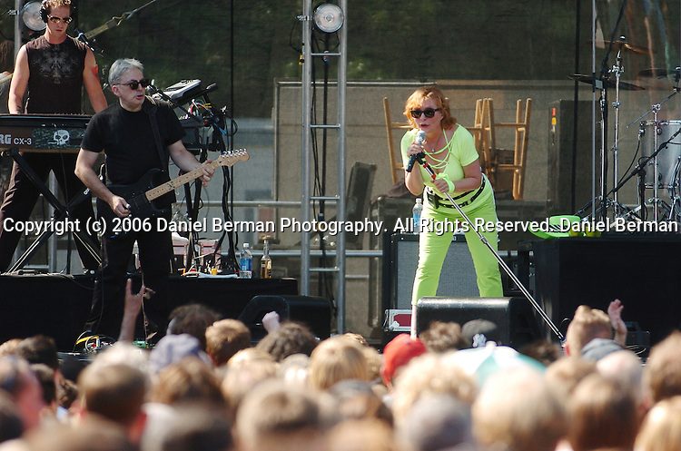 Blondie frontwoman Debbie Harry leads the crowd in an extended version of their song 'Good Boys' during their performance at the Bumbershoot music festival in Seattle, WA September 2, 2006.