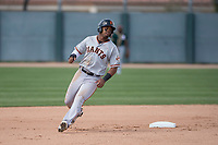 San Francisco Giants center fielder Heliot Ramos (21) during a Minor League Spring Training game against the Oakland Athletics at Lew Wolff Training Complex on March 26, 2018 in Mesa, Arizona. (Zachary Lucy/Four Seam Images)