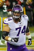 Minnesota Vikings tackles Mike Remmers (74) during a National Football League game against the Green Bay Packers on December 23rd, 2017 at Lambeau Field in Green Bay, Wisconsin. Minnesota defeated Green Bay 16-0. (Brad Krause/Krause Sports Photography)