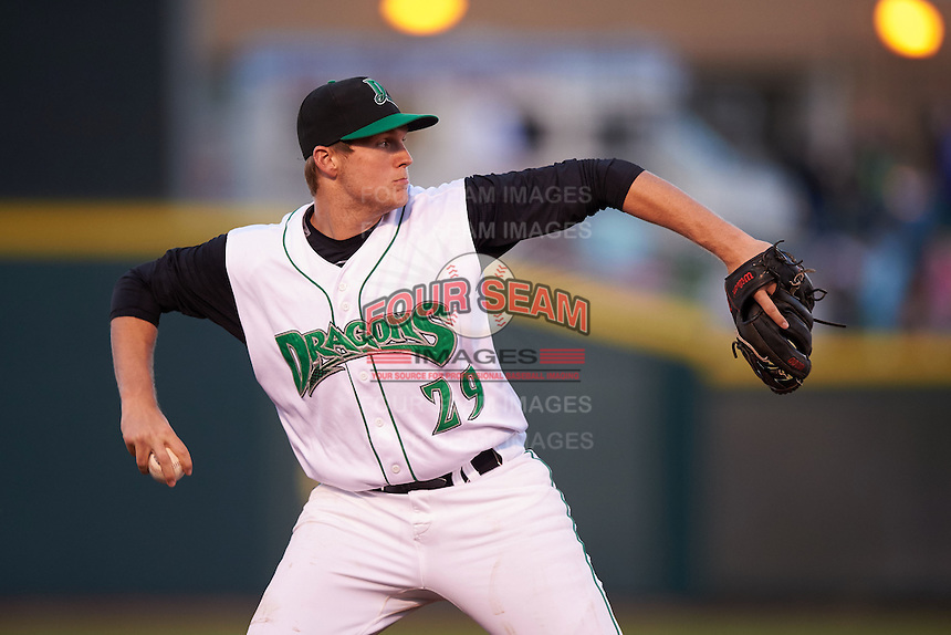Dayton Dragons third baseman Gavin LaValley (29) throws to first during a game against the Great Lakes Loons on May 21, 2015 at Fifth Third Field in Dayton, Ohio.  Great Lakes defeated Dayton 4-3.  (Mike Janes/Four Seam Images)