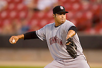 Relief pitcher Sergio Santos #29 of the Birmingham Barons in action versus the Carolina Mudcats at Five County Stadium August 15, 2009 in Zebulon, North Carolina. (Photo by Brian Westerholt / Four Seam Images)