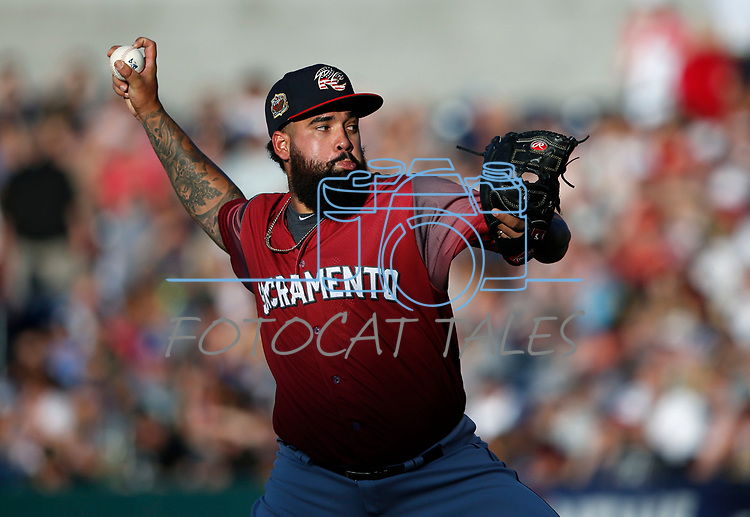Sacramento River Cats Williams Jerez pitches against the Reno Aces, in Reno, Nev., on Thursday, July 4, 2019.<br /> Photo by Cathleen Allison/Nevada Momentum