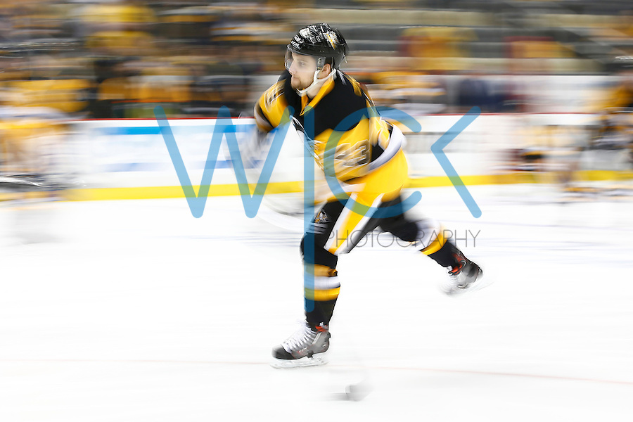 Conor Sheary #43 of the Pittsburgh Penguins warms up prior to game one of the Eastern Conference Finals of the Stanley Cup Playoffs against the Tampa Bay Lightning at Consol Energy Center in Pittsburgh, Pennslyvania on May 13, 2016. (Photo by Jared Wickerham / DKPS)