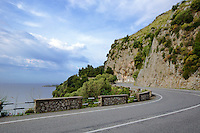 The Winding Amalfi Road, stretching about 30 miles or 50km along the southern side of the Sorrentine Peninsula, most famous for the town of Sorrento, the Amalfi Coast (Costiera Amalfitana) is one of Europe's most breathtaking. Cliffs terraced with scented lemon groves sheer down into sparkling seas; whitewashed and pastel colored villas cling precariously to unforgiving slopes while sea and sky merge in one vast blue horizon.