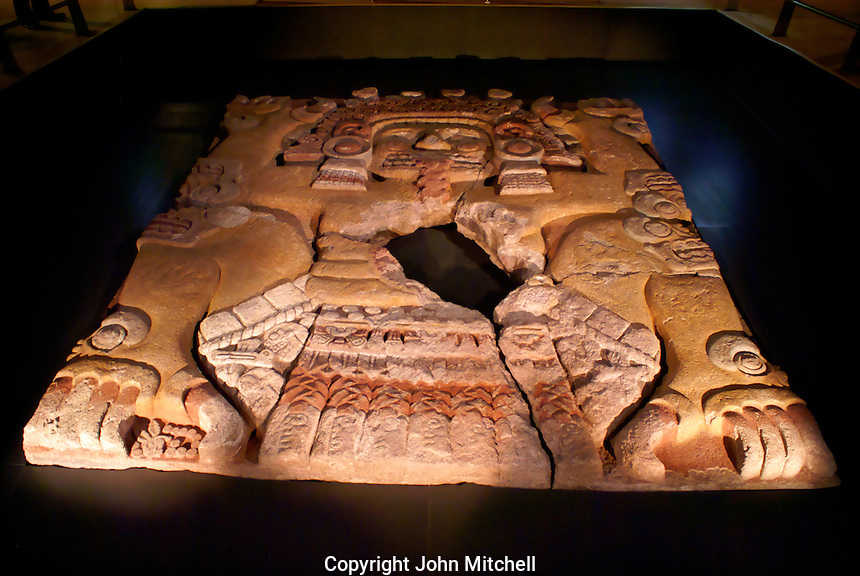 The Tlaltecuhtli sculpture in the Templo Mayor Musem, Mexico City. This sculpture was discovered in 2006 in downtown Mexico City. It is the largest Aztec artifact found so far.