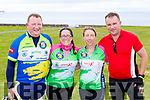 Noel O'Malley, Brenda O'Malley, Gemma Cirillo and Niall Gliroy who all work in St Mary of the Angels take a break in Waterville during their Ring of Kerry cycle on Saturday morning