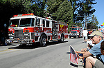 Aptos fire engines in 4th of July Parade in Aptos