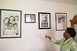 Sarah Collins Rudolph points out artwork and newspaper clippings surrounding the 1963 bombing in Birmingham that killed her sister and left her blind in one eye.