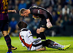 Goalkeeper Marc-Andre Ter Stegen of FC Barcelona confronts Luis Advincula of Rayo Vallecano during the La Liga 2018-19 match between Rayo Vallecano and FC Barcelona at Estadio de Vallecas, on November 03 2018 in Madrid, Spain. Photo by Diego Gouto / Power Sport Images