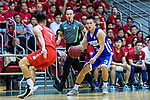 Lee Ki #3 of Eastern Long Lions (R) in action against Lam Hoi Kwong #7 of SCAA Men's Basketball Team (L) during the Final of Hong Kong Basketball League 2018 match between SCAA v Eastern Long Lions on August 10, 2018 in Hong Kong, Hong Kong. Photo by Marcio Rodrigo Machado/Power Sport Images