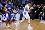 North Carolina Tar Heels forward Justin Jackson celebrates as the buzzer sounds as they defeat the Kentucky Wildcats 75-73 during the 2017 NCAA Men's Basketball Tournament South Regional Elite 8 at FedExForum in Memphis, TN on Friday March 24, 2017. Photo by Michael Reaves | Staff