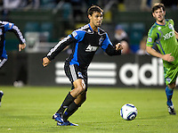 Chris Wondolowski of Earthquakes in action during the game against the Sounders at Buck Shaw Stadium in Santa Clara, California on April 2nd, 2011.   San Jose Earthquakes and Seattle Sounders are tied 2-2.