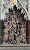 St Saulve praying for the discovery of the tomb of St Firmin, Gothic style polychrome high-relief sculpture in the second intercolumniation of the South side of the choir screen, 1490-1530, commissioned by canon Adrien de Henencourt, depicting the life of St Firmin, at the Basilique Cathedrale Notre-Dame d'Amiens or Cathedral Basilica of Our Lady of Amiens, built 1220-70 in Gothic style, Amiens, Picardy, France. St Firmin, 272-303 AD, was the first bishop of Amiens. Amiens Cathedral was listed as a UNESCO World Heritage Site in 1981. Picture by Manuel Cohen