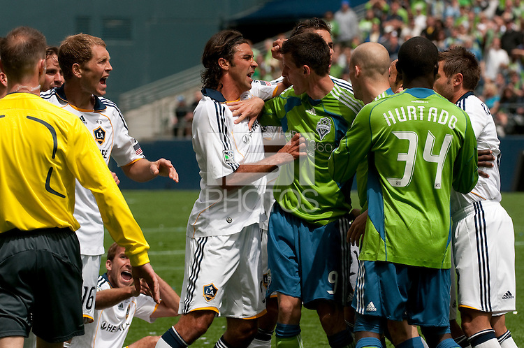 Sebastien Le Toux of the Seattle Sounders is in the middle of a scrum  with several LA Galaxy players at Quest Field on May 10, 2009. The Sounders and Galaxy played to a 1-1 draw.