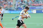 The Hague, Netherlands, June 06: Tobias Hauke #13 of Germany removes his glove after a penalty corner during the field hockey group match (Men - Group B) between Germany and The Netherlands on June 6, 2014 during the World Cup 2014 at Kyocera Stadium in The Hague, Netherlands. Final score 0-1 (0-1) (Photo by Dirk Markgraf / www.265-images.com) *** Local caption ***