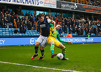 9th February 2020; The Den, London, England; English Championship Football, Millwall versus West Bromwich Albion; Jake Cooper of Millwall challenges Hal Robson-Kanu of West Bromwich Albion