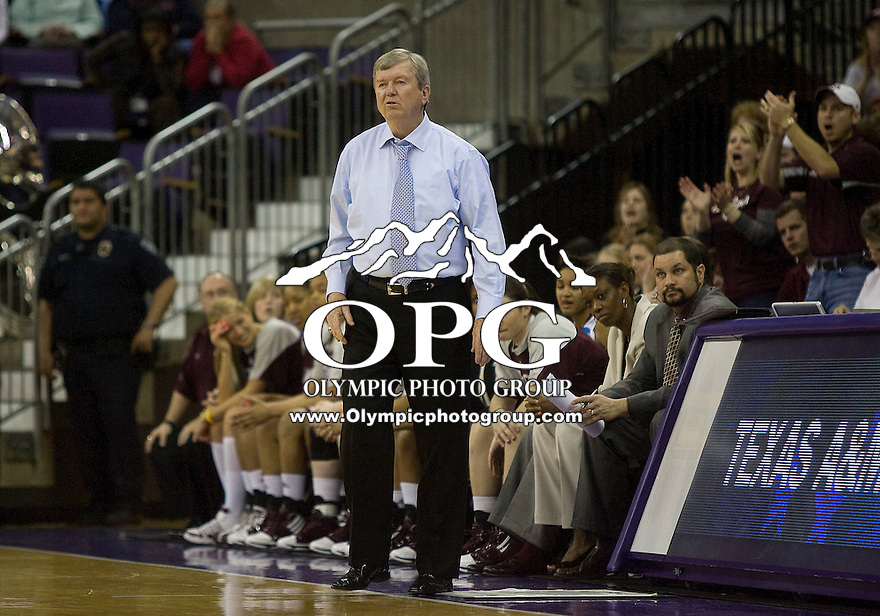 22 March 2010:  Texas A&M head coach Gary Blair instructs his players from the bench against Gonzaga. Gonzaga won 72-71over Texas A&M in the second round of the NCAA Women's Basketball Tournament held at the Bank of America Arena in Seattle, WA.