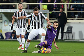 9th February 2018, Stadio Artemio Franchi, Florence, Italy; Serie A football, ACF Fiorentina versus Juventus; (L-R) Gonzalo Higuain of Juventus is tackled by Milan Badelj of Fiorentina