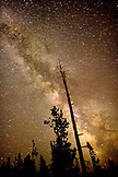 USA, Wyoming, a beautiful view of milky way at night, Kessler Cascade, Yellowstone National Park
