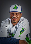 11 June 2019: Vermont Lake Monsters pitcher Richard Morban poses for a portrait on Photo Day at Centennial Field in Burlington, Vermont. The Lake Monsters are the Single-A minor league affiliate of the Oakland Athletics and play a short season in the NY Penn League Stedler Division. Mandatory Credit: Ed Wolfstein Photo *** RAW (NEF) Image File Available ***