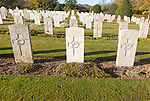 Rows of gravestones at Tidworth military cemetery, Tidworth, Wiltshire, England, UK