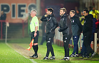 Lincoln City manager Danny Cowley, left, and Lincoln City's assistant manager Nicky Cowley shout instructions to their team from the technical area<br /> <br /> Photographer Andrew Vaughan/CameraSport<br /> <br /> The EFL Checkatrade Trophy Second Round - Accrington Stanley v Lincoln City - Crown Ground - Accrington<br />  <br /> World Copyright &copy; 2018 CameraSport. All rights reserved. 43 Linden Ave. Countesthorpe. Leicester. England. LE8 5PG - Tel: +44 (0) 116 277 4147 - admin@camerasport.com - www.camerasport.com