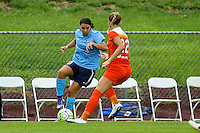 Piscataway, NJ - Saturday July 09, 2016: Samantha Kerr, Stephanie Ochs during a regular season National Women's Soccer League (NWSL) match between Sky Blue FC and the Houston Dash at Yurcak Field.
