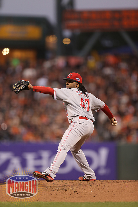 SAN FRANCISCO - OCTOBER 6:  Johnny Cueto of the Cincinnati Reds pitches during Game 1 of the NLDS against the San Francisco Giants at AT&T Park on October 6, 2012 in San Francisco, California. (Photo by Brad Mangin)