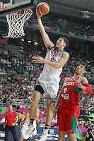 USA's Klay Thompson (l) and Mexico's Gustavo Ayon during 2014 FIBA Basketball World Cup Round of 16 match.September 6,2014.(ALTERPHOTOS/Acero)