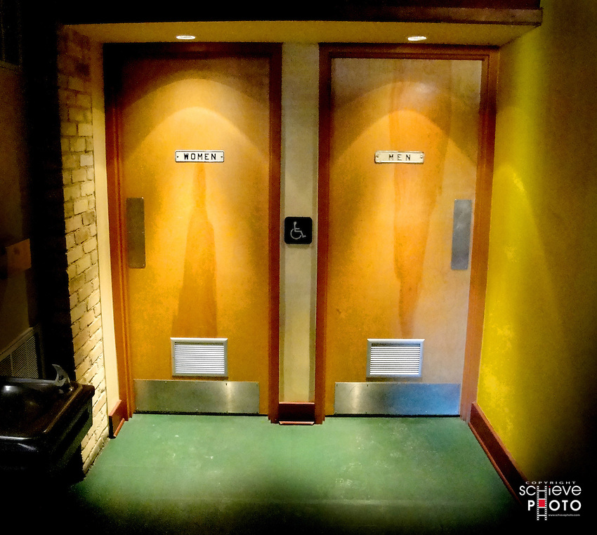 Women and men bathroom doors.