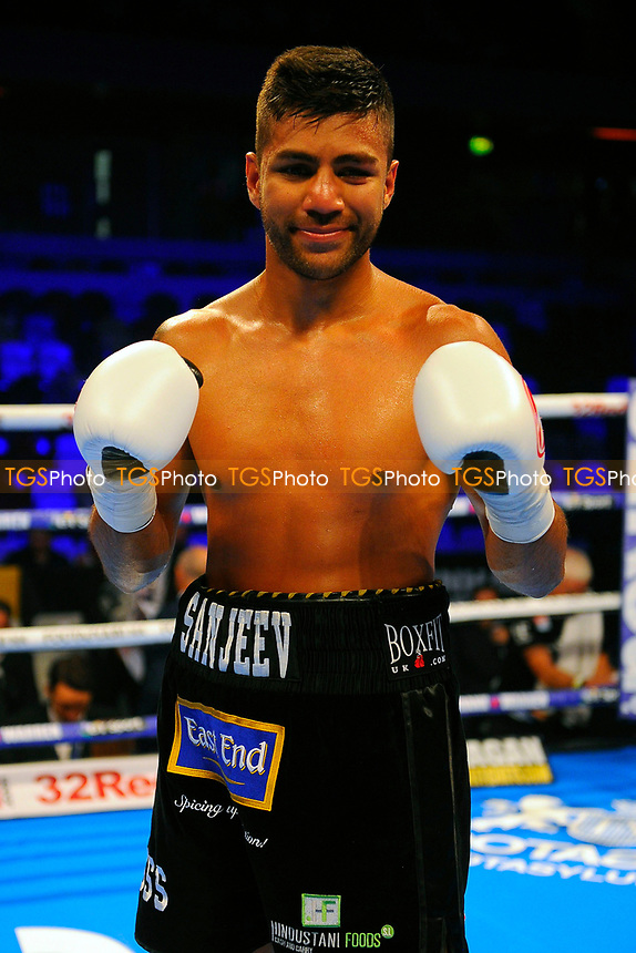 Sanjeev Sahota defeats Luka Leskovic during a Boxing Show at the Copper Box Arena on 8th July 2017