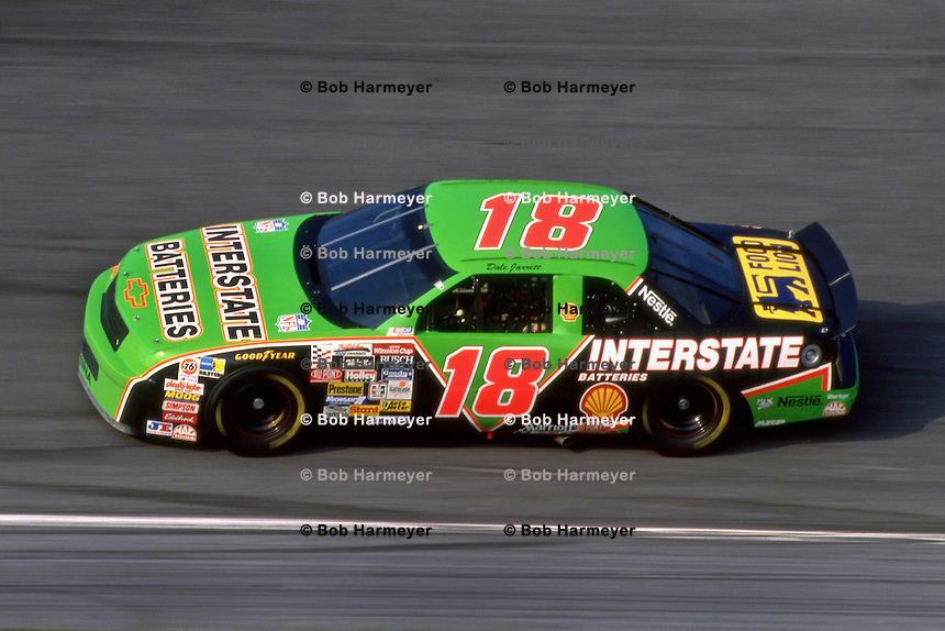 Dale Jarrett drives his Interstate Batteries Chevrolet Lumina during practice for the Daytona 500 NASCAR Winston Cup race at the Daytona International Speedway in Daytona Beach, Florida, on February 14, 1993. (Photo by Bob Harmeyer)