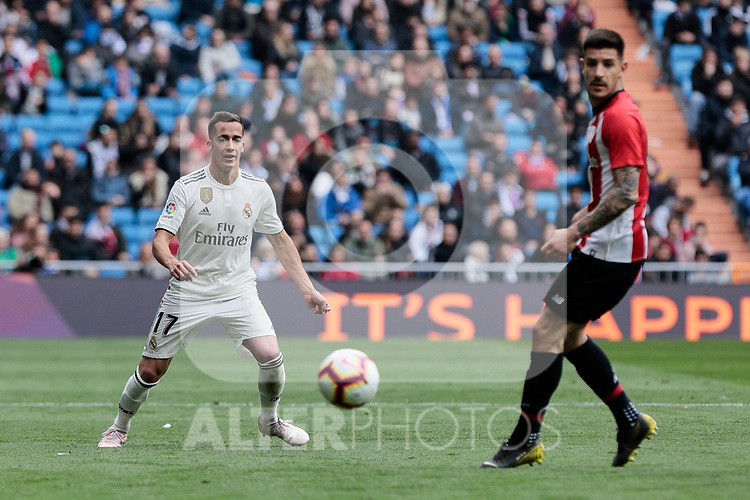 Real Madrid's Lucas Vazquez during La Liga match between Real Madrid and Athletic Club de Bilbao at Santiago Bernabeu Stadium in Madrid, Spain. April 21, 2019. (ALTERPHOTOS/A. Perez Meca)