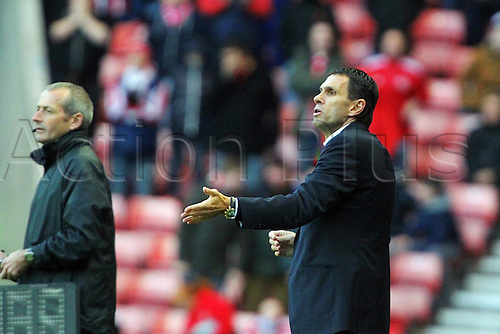 10.11.2013 Sunderland, England. Sunderland Manager Gustavo Poyet during the Premier League game between Sunderland and Manchester City from the Stadium of Light.