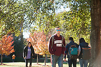 Fall leaves on Drill Field - students walking<br />  (photo by Megan Bean / &copy; Mississippi State University)